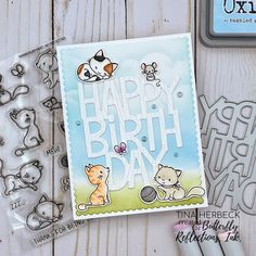 Happy Birthday Kitties Card Cat Birthday, Birthday Cards, Happy Birthday, Stamp Making, Card Making, Mama Elephant Cards, Bouquet Box, Cloud Stencil, Fall Cards