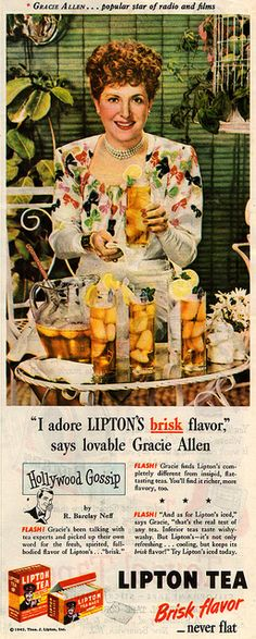 Gracie Allen for Lipton Tea, 1945 by it's better than bad, via Flickr