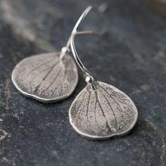 Silver Petal Earrings / Rustic Botanical Jewelry / by burnish, $23.00
