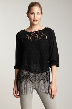 Boatneck Lace Fringe Top by Rain
