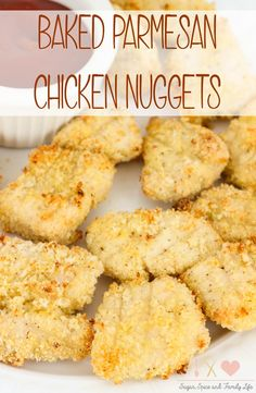 Instead of buying chicken nuggets for your children, make them healthy homemade chicken nuggets. Baked Parmesan Chicken Nuggets are coated in a panko bread crumb and parmesan cheese mixture, and baked in the oven for a kid friendly dinner. - Baked Parmesan Chicken Nuggets Recipe on Sugar, Spice and Family Life