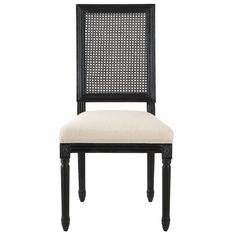 Jacques Cane Antique Black Square Back Dining Side Chairs (Set of 2)
