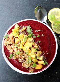 Blåbær- og mangosmoothie i skål