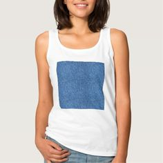 True Blue Denim Jeans Pattern Background Fabric Basic Tank Top Tank Tops