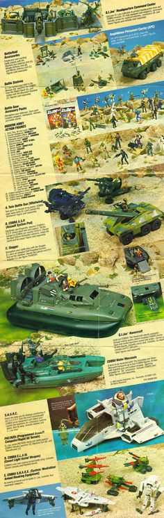 One side of the 1984 G.I.Joe box insert / catalog, featuring the first and second series of the toy line
