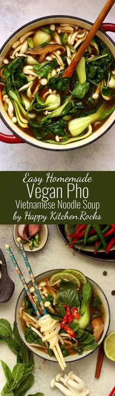 Vegan Pho (Phở) is an easier and healthier version of the traditional Vietnamese noodle soup. This nourishing and flavorful gluten-free and fat-free soup is perfect for any season! #asian #pho #noodlesoup #broth #vietnamese #vegan #vegansoup #veganrecipe #veganfood #comfortfood #recipe #recipes #glutenfree #plantbased #vegetarian #healthyeating #healthyfood #noodlebowl #asianfood