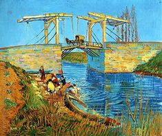 The artwork fine art print and hand painted oil reproduction of the painting The Langlois Bridge at Arles, oil painting of Vincent van Gogh we deliver as art print on canvas, poster, plate or finest hand made paper. Art Van, Van Gogh Art, Vincent Van Gogh, Claude Monet, Rembrandt, Van Gogh Pinturas, Georges Seurat, Most Famous Paintings, Famous Art