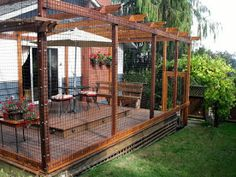 Cat Enclosure: Beautiful deck for both people and their cats.