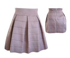 Stretch Panel Flared Skirt in Taupe, $34 #shoppitaya