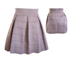 Stretch Panel Flared Skirt in Taupe, $34 #shoppitaya