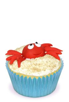Sand Crab Cupcakes for a sea party (or Sebastien cupcakes for a Little Mermaid party)