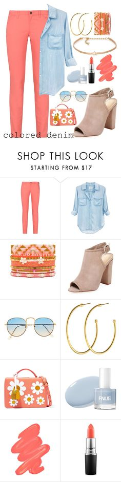 """""""colored denim"""" by ashley-andreasen ❤ liked on Polyvore featuring Armani Jeans, Rails, Hipanema, Schutz, Dyrberg/Kern, Mark Cross, Obsessive Compulsive Cosmetics, MAC Cosmetics and Kenneth Jay Lane"""
