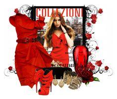"""Lady in Red"" by deborah-simmons ❤ liked on Polyvore featuring Oscar de la Renta, Waterford, Alexander McQueen, Giuseppe Zanotti, Park Lane, Miss Selfridge and Elie Tahari"