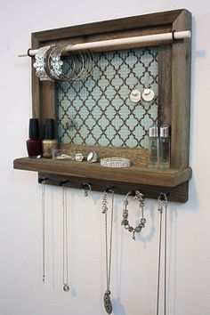 Jewelry Organizer Shelf - Rustic Barnwood - Mint And Coco Quatrefoil Pattern - Jewelry Holder by hudsonlace on Etsy https://www.etsy.com/listing/192776620/jewelry-organizer-shelf-rustic-barnwood