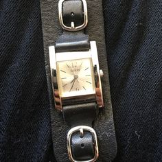Guess black leather watch Soft black leather watch. Needs battery Guess Accessories Watches