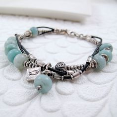 Intertwined Silver and Leather Bracelet with Amazonite