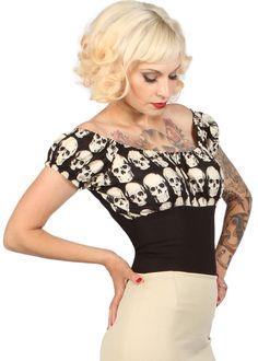 mode merr fitted peasant blouse skulls