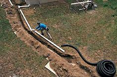 Need to extend your downspout? Connecting downspouts to buried drainpipes can help dry out a wet basement and soggy lawn. Gutter Drainage, Backyard Drainage, Drainage Pipe, Landscape Drainage, Backyard Patio, Diy Gutters, Copper Gutters, Drain Tile