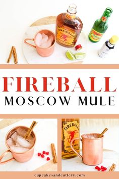 Quick and easy Fireball Moscow Mule. This delicious cocktail recipe uses cinnamon whisky to add a little bit of spice and a whole lot of flavor! It's a fun drink idea for Valentine's day!