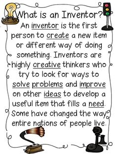 First Grade Wow: inventors – A FREE unit plan on the influence of inventors. Ton… First Grade Wow: inventors – A FREE unit plan on the influence of inventors. Tons and tons of other printables, lessons, and units, all free! 1st Grade Science, Science Curriculum, Science Classroom, Teaching Science, Science Education, Science Activities, Teaching Resources, Physical Education, Teaching Ideas