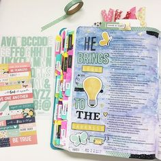 """I'm just smitten with this new faith line that @simplestories_  has come out with! I had to break into my new goodies and journal a page last night. I keep finding myself going back to some of the readings I've already done and journaling. I like to take notes while I listen to my bible app read to me, then I can follow along in my bible. While I was going over some notes this verse stuck out to me. """"He brings light to the darkness."""" -Job 12:22  #ssfaith #simplestories #biblejournaling #bib... Scripture Study, Bible Art, Bible Verses, Job Bible, Book Of Job, Bible Prayers, Illustrated Faith, Krystal, Bring It On"""