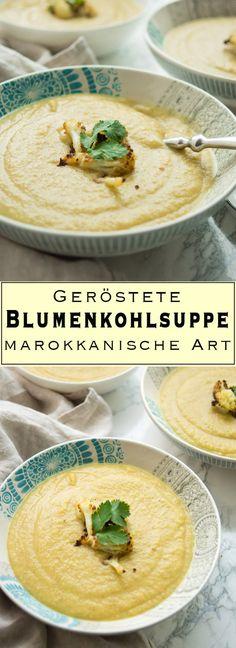 Ein veganes Rezept für eine cremige geröstete Blumenkohlsuppe, die nicht nur gesund sondern auch voller leckerer Aromen ist. Die Suppe ist nicht nur vegan sondern auch glutenfrei. - Einfache Gesunde Rezepte - Elle Republic