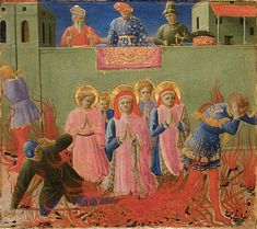 """Saints Cosmas and Damian Burned Alive"" from Fra Angelico and Zanobi Strozzi ""Six panels from the Annalen predella: Scenes fro the Life of Cosmas and Damian,"" about (Courtesy Gardner Museum) Fra Angelico, Gardner Museum, High Renaissance, Catholic Art, Italian Art, Native Indian, Michelangelo, Wonderland, Saints"
