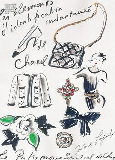 Chanel illustrations by Karl Lagerfeld. Scanned by me from Vogue China February 2011.