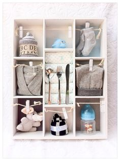 Get dividers from IKEA and put gifts inside to give for baby shower gift