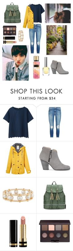 """""""Rainy day with Jungkook"""" by bts-outfit-imagines ❤ liked on Polyvore featuring Uniqlo, J Brand, Joules, rag & bone, Lele Sadoughi, Gucci, Laura Mercier and Victoria's Secret"""