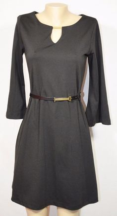 SHARAGANO Black 3/4 Bell Sleeve Dress 4 Matching Belt Gold-tone Accent at Neck #Sharagano #Sheath #LittleBlackDress