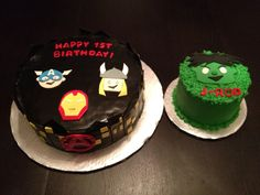 Avengers cake for one year old with smash cake