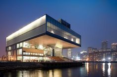 "Institute of Contemporary Art Boston The building is located in South Boston. It was designed by the architectural firm Diller Scofidio+Renfro. This building won 2007 Harleston Parker Medal award for ""the most beautiful piece of architecture"" in Boston. Boston Architecture, Architecture Photo, Amazing Architecture, Museum Architecture, Architecture Board, Amazing Buildings, Architecture Drawings, Zaha Hadid, Frank Gehry"