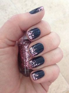 I could totally recreate this with Dark Horse lacquer and Tutus and Tiaras TruShine gel.  Really loving the dark blue and pink trend right now!