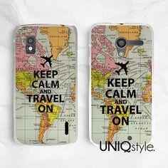 Keep Calm and travel on - plastic phone case back cover for LG G2, Nexus 4, Nexus 5, Moto G, Moto X - soft case / hard case - L71 on Etsy, $9.99