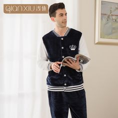 Qianxiu winter men Thicken flannel pajamas pijama set baseball collar men's Sleep Lounge pijama suit lovers sleepwear man pijama