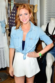 Pair high-waisted shorts with a knotted chambray shirt for a classic summer look á la Brittany Snow