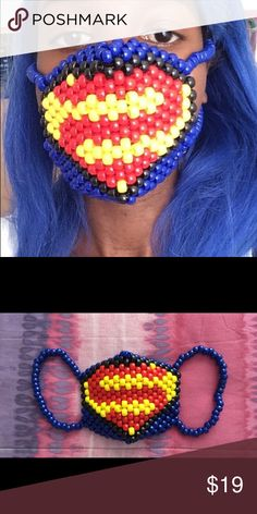 Superman Kandi Mask A Superman Kandi mask. Great for raves, festivals, cosplaying or Halloween! Masks are unisex so it can be worn by a woman or man. These are made to order so please allow up to 3 to 5 days to complete. $15 (etsy), $19 (poshmark). If you have any questions feel free to ask :). KandiKraverCreations Accessories