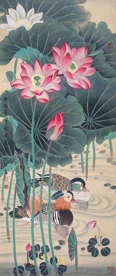 Oriental painting of lotus flowers with ducks
