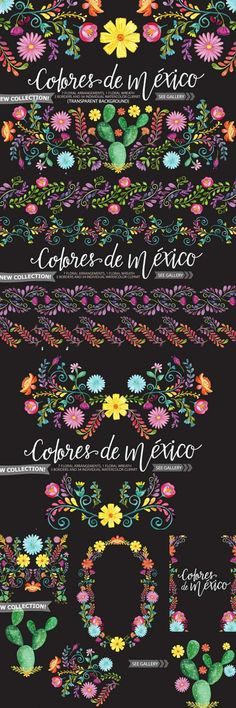 Mexican Watercolor Floral clipart. Ad #graphicdesign #flowers #floral