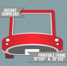 Car Prop Printable - digital jpeg for giant prop. Print with a local printer, cut out the middle and take photos with everyones face inside the gap. Great for themed parties, kids birthdays, fun decorations, holiday party ideas.  Just purchase the digital file and get it printed and mounted near you. Stores such as Walgreens or Costcos offers poster print services which can then be mounted to card and cut out…