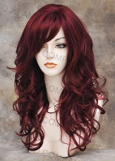 Deep Burgundy Hair Color | Wonderful Long wavy Layered Soft Burgundy Red Mix Curly Wig w. bangs ...
