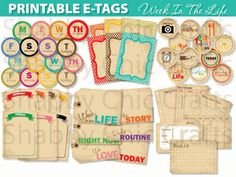 Printable Tags suitable for Project Life and A Week in the Life