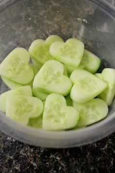 Valentines Day ideas for a party or a family dinner. #food - heart-shaped cucumbers