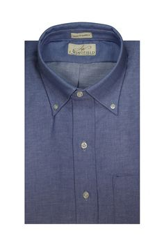 Classic Chambray - Chicago Blue Shade - Washed Mens Dress Shirt Made in America via BuyDirectUSA.com