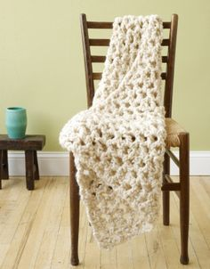 V-Stitch Lapghan. Looks quick and easy, made with bulky/roving yarn