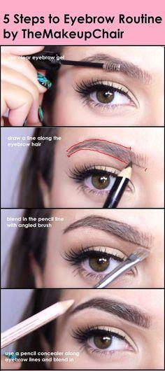 5 Steps To Eyebrow Routine Themakeupchair Maquiagem Eyebrow Eyebrow Makeup Tips, Skin Makeup, Makeup Eyebrows, Eye Brows, Eyebrow Pencil, Plucking Eyebrows, Eyebrow Tinting, Flawless Makeup, Gorgeous Makeup