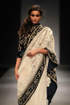 velvet blouse sari by Vineet Bahl