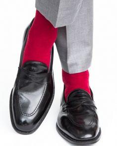 Dapper Classics Burgundy Ribbed Mid-Calf Linked Toe Fine Merino Wool Sock