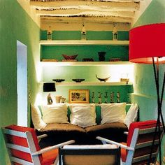 Essaouira Morocco living area in greens and reds Home Living Room, Living Area, Living Room Designs, Living Spaces, Beauty Salon Interior, Piece A Vivre, Decor Interior Design, My Dream Home, Home Crafts